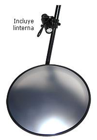 Espejo busca-bombas con espejo convexo, ruedas y linterna LED