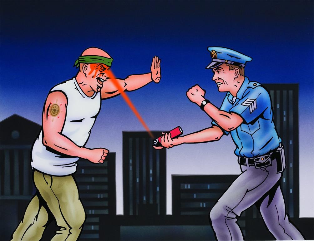 Ilustración del uso de la tecnología Crossfire por un policía
